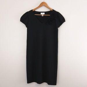 LOFT wool blend black dress with flowers size XS